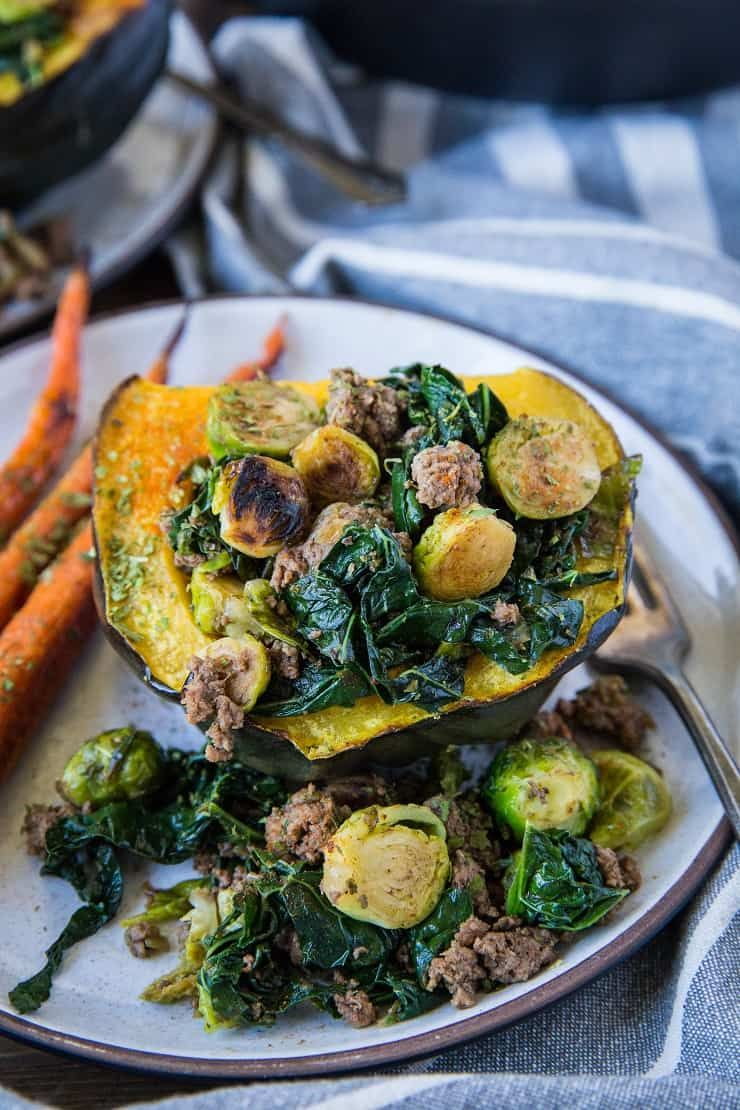 Stuffed Acorn Squash With Ground Beef Brussels Sprouts And Kale A Clean Nutritious Dinner Re In 2020 Healthy Squash Recipes Ground Beef Paleo Recipes Acorn Squash