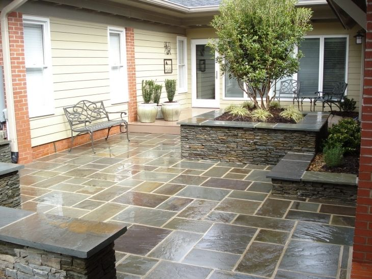 Stylish blue stone patio dry stone home decor ideas blue for Small stone patio ideas
