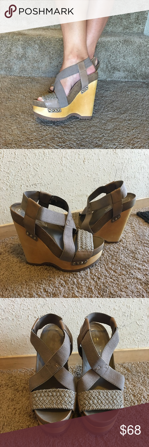 Bcbg Maxazria Taupe Wooden Wedge sandals 6.5 Bcbg wedge Sandals  Brand NEW / No Box but will be shipped in one!  Size: 6.5 / 36.5 (Perfect for sizes 6 - 6.5) Wooden Wedge With rubber bottoms Taupe almost olive color woven material, leather and elastic straps Embellished with metal studs throughout   Note:  These sandals are Brand NEW!  The only flaw is some peeling on the inside of the strap which cannot be seen at all when worn. Please refer to last picture bottom left!  Price is firm…