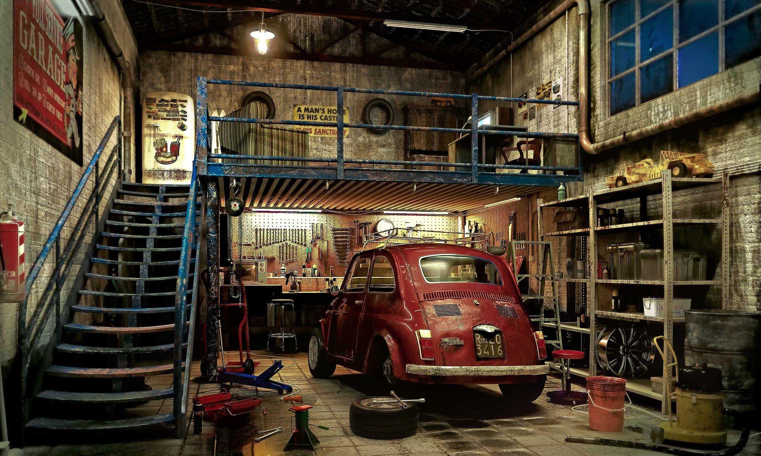 Garage Garage Interior Industrial And Men Cave