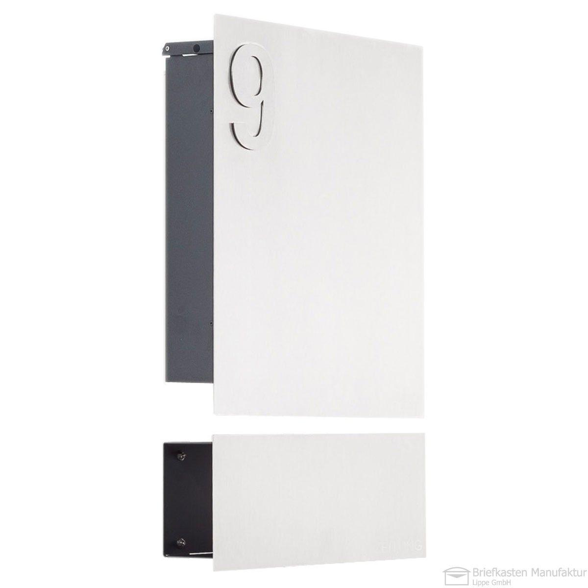 Edelstahl Designer Briefkasten Modell 120 mit Hausnummer & Zeitungsfach Korpus Anthrazit