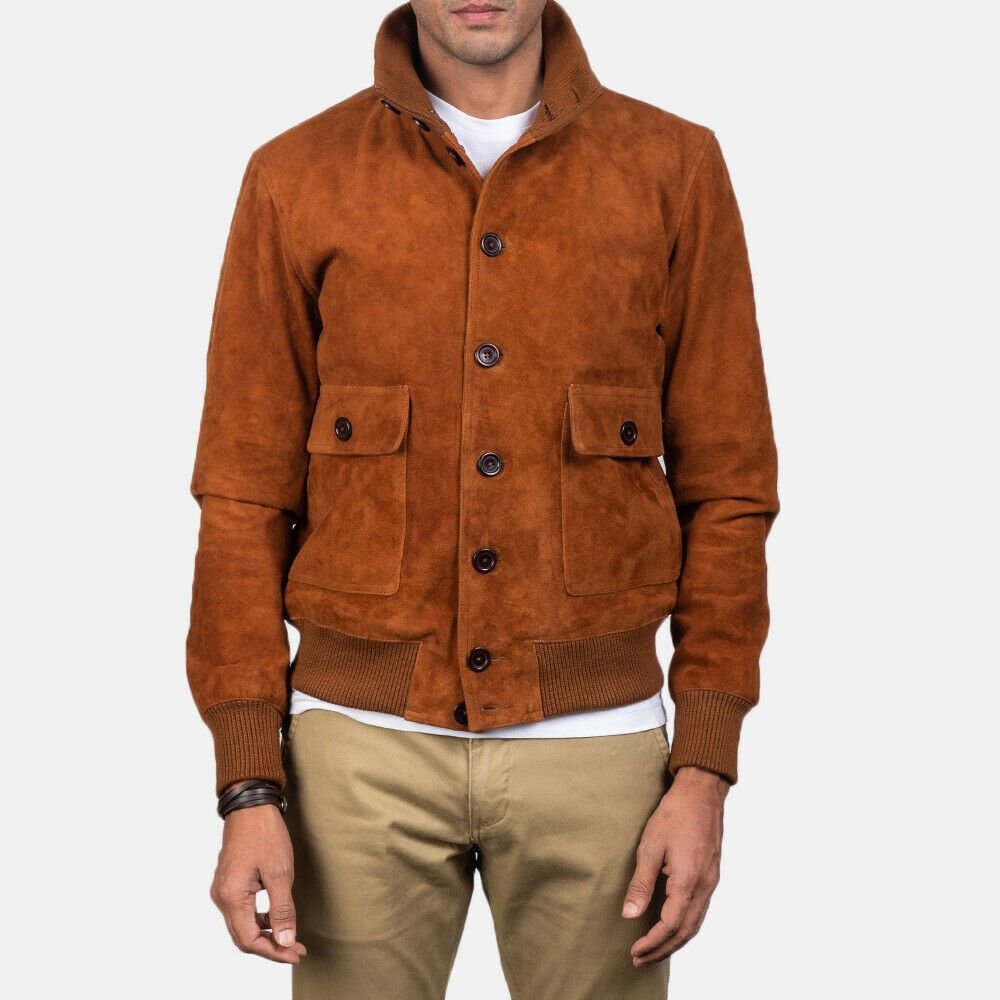 Eaton Brown Suede Bomber Jacket with Free Shipping