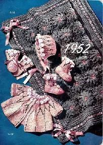 Carriage Cover, Cap, Sacque, Mittens, Bootees Crochet Patterns 723060