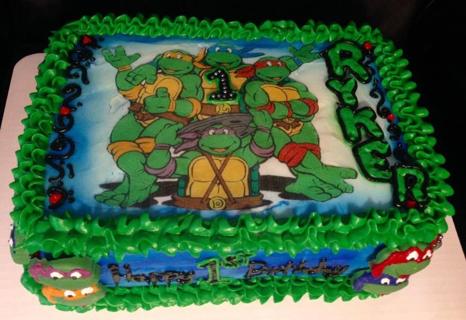 Teenage Mutant Ninja Turtles Double Tier 1 4 Sheet Cake Buttercream Frosting With Edible Image And Handmade Choco Monster High Cakes Cake Easy Minecraft Cake