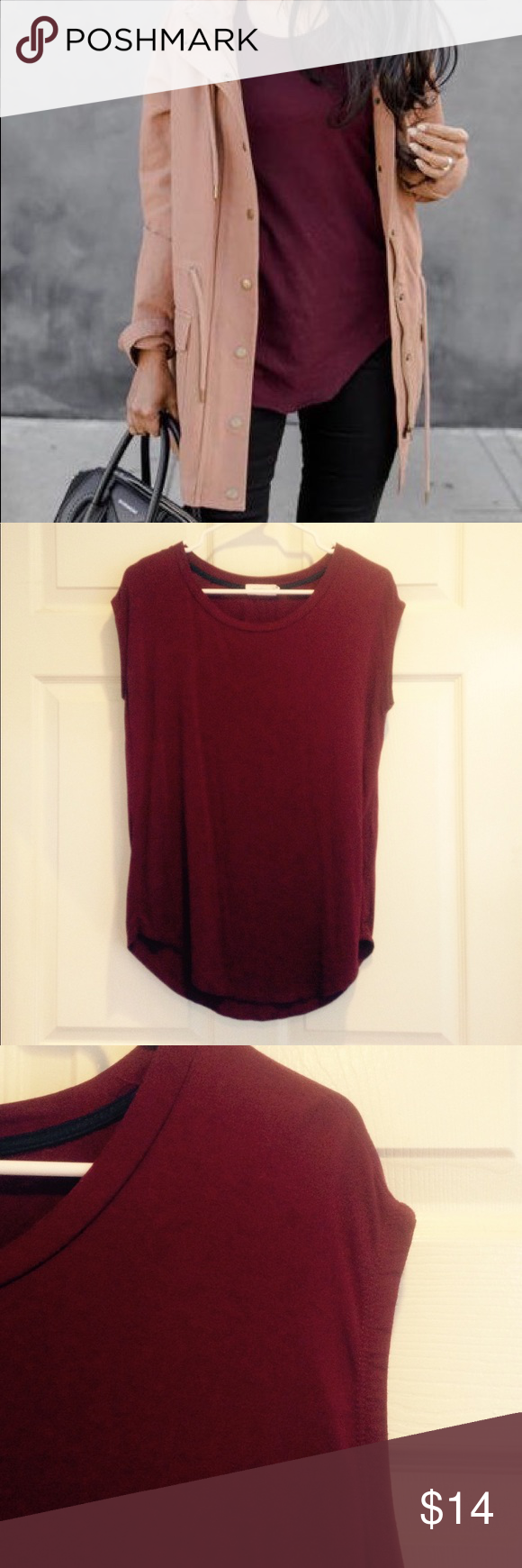"""Maroon Top This gorgeous shirt is perfect for fall! It has a loose, flowy fit that will flatter those skinny jeans and booties. Barely worn, and in almost new condition. Size Medium and fits true to size. Length is 26"""" in front, and 28"""" in back. If you have any questions, please feel free to ask me! Marlow Tops Tees - Short Sleeve"""