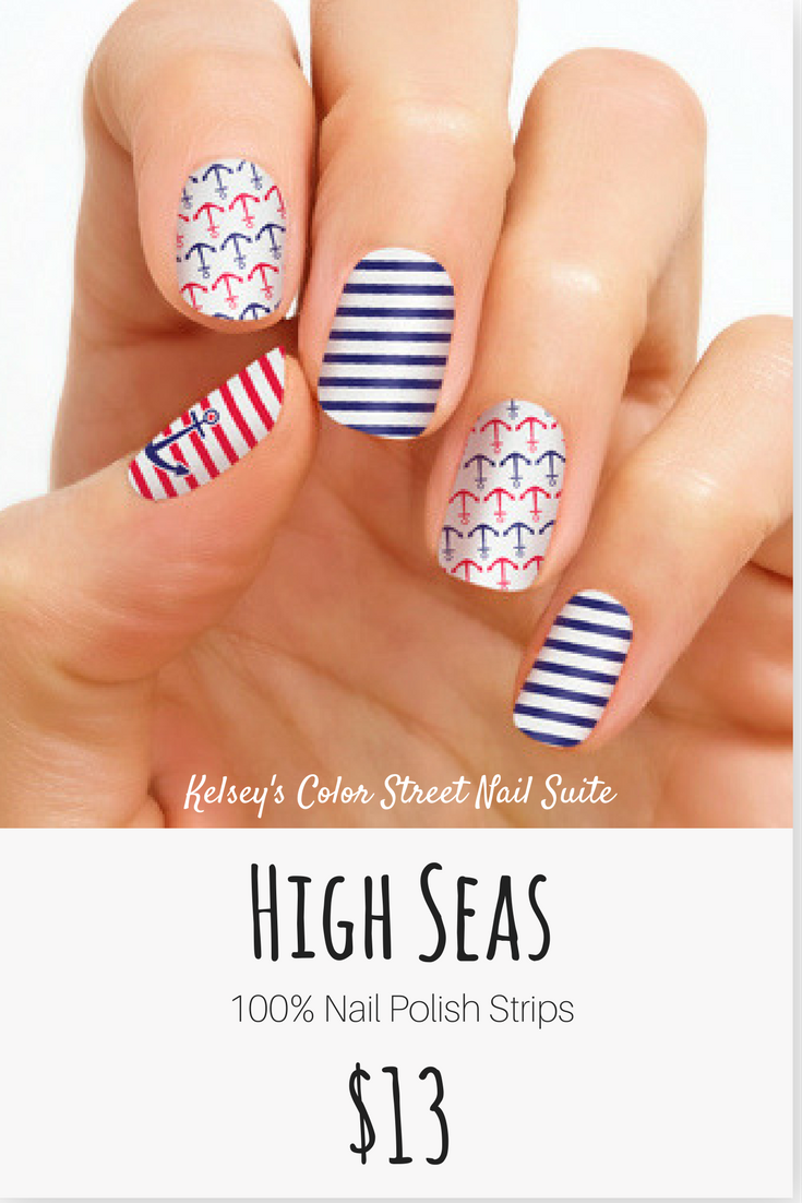 Color Street High Seas. Summer nail art! Red, white, and blue ...
