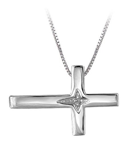 4e052e210ec88 Sterling Women s Sterling Silver Accent Round-Cut White Diamond Cross  Pendant (18
