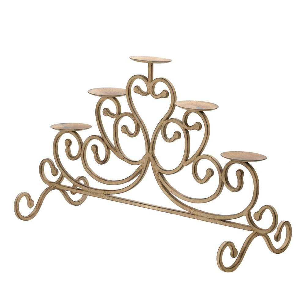 Antiqued iron candleabra candle stand products pinterest