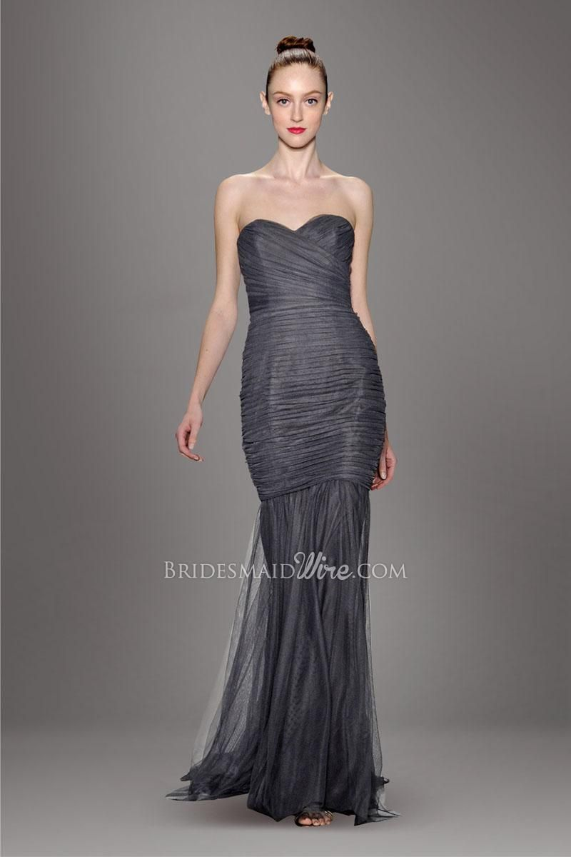 Dark grey strapless sweetheart allover pleated tulle overlay dark grey strapless sweetheart allover pleated tulle overlay floor length trumpet bridesmaid dress ombrellifo Choice Image