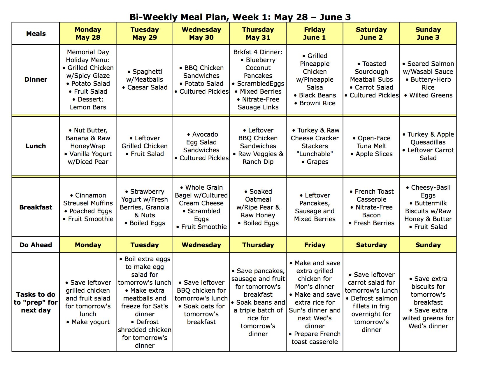 Love this mom's meal planning! Many GF. Bi-Weekly Meal Plan LARGE ...