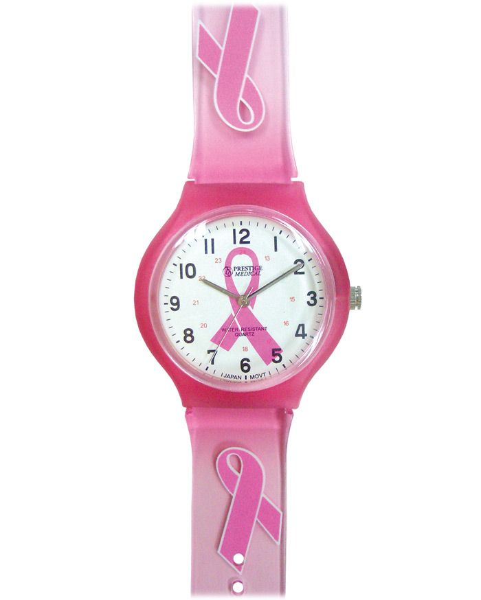 Prestige Medical Pink Ribbon Scrub Watch - (Model 1773):  Specifically crafted for medical professionals, Prestige Medical time pieces are designed for a variety of workplace applications while enabling the personalization of healthcare. Quartz movement with a battery (SR626SW) included. Plastic translucent band. Plastic case. Plastic lens. A portion of the sale of this watch is donated to the American Cancer Society. #pinkribbon #breastcancer
