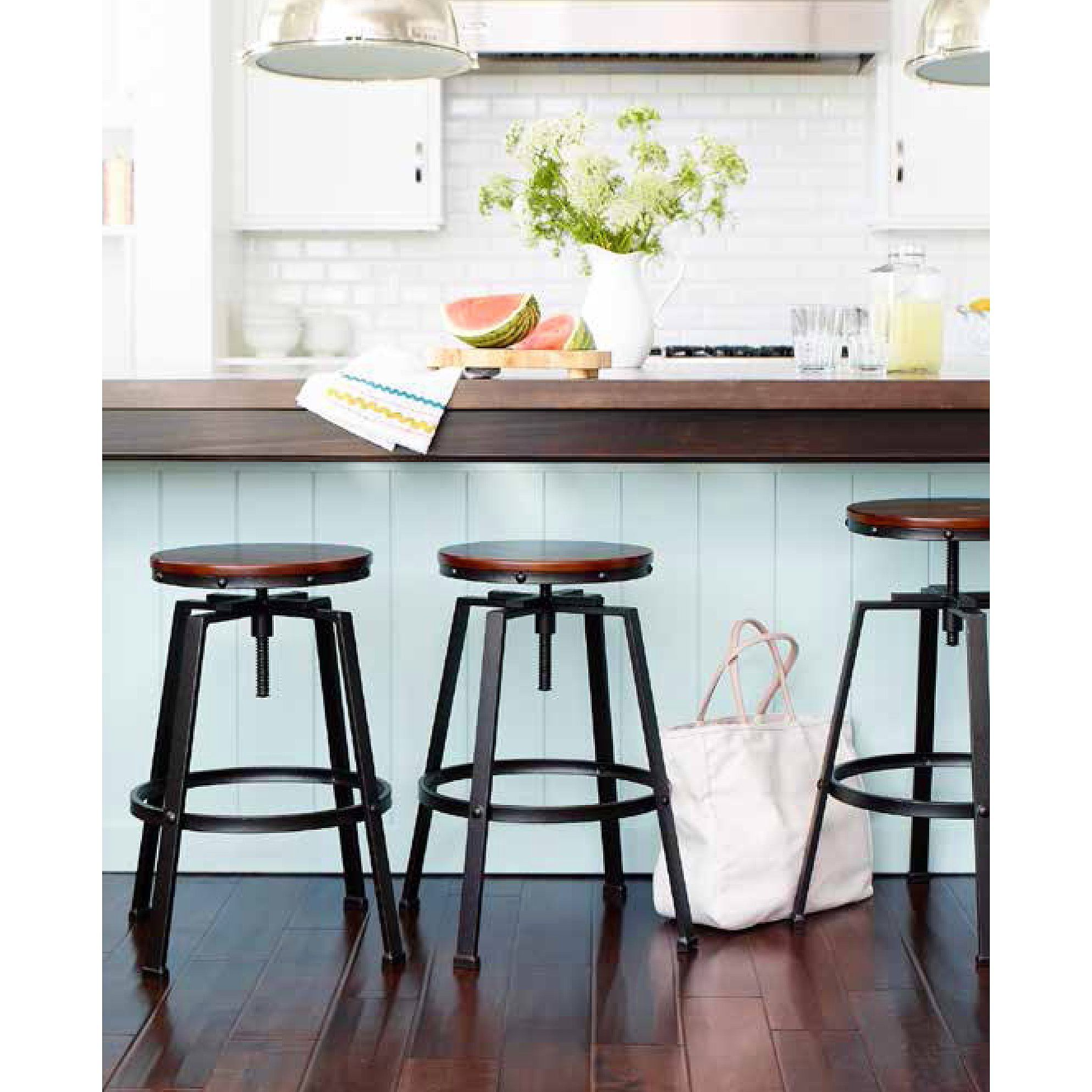 Kitchen Tables With Stools: The Lewiston Adjustable Height Swivel Stool Has A Modern