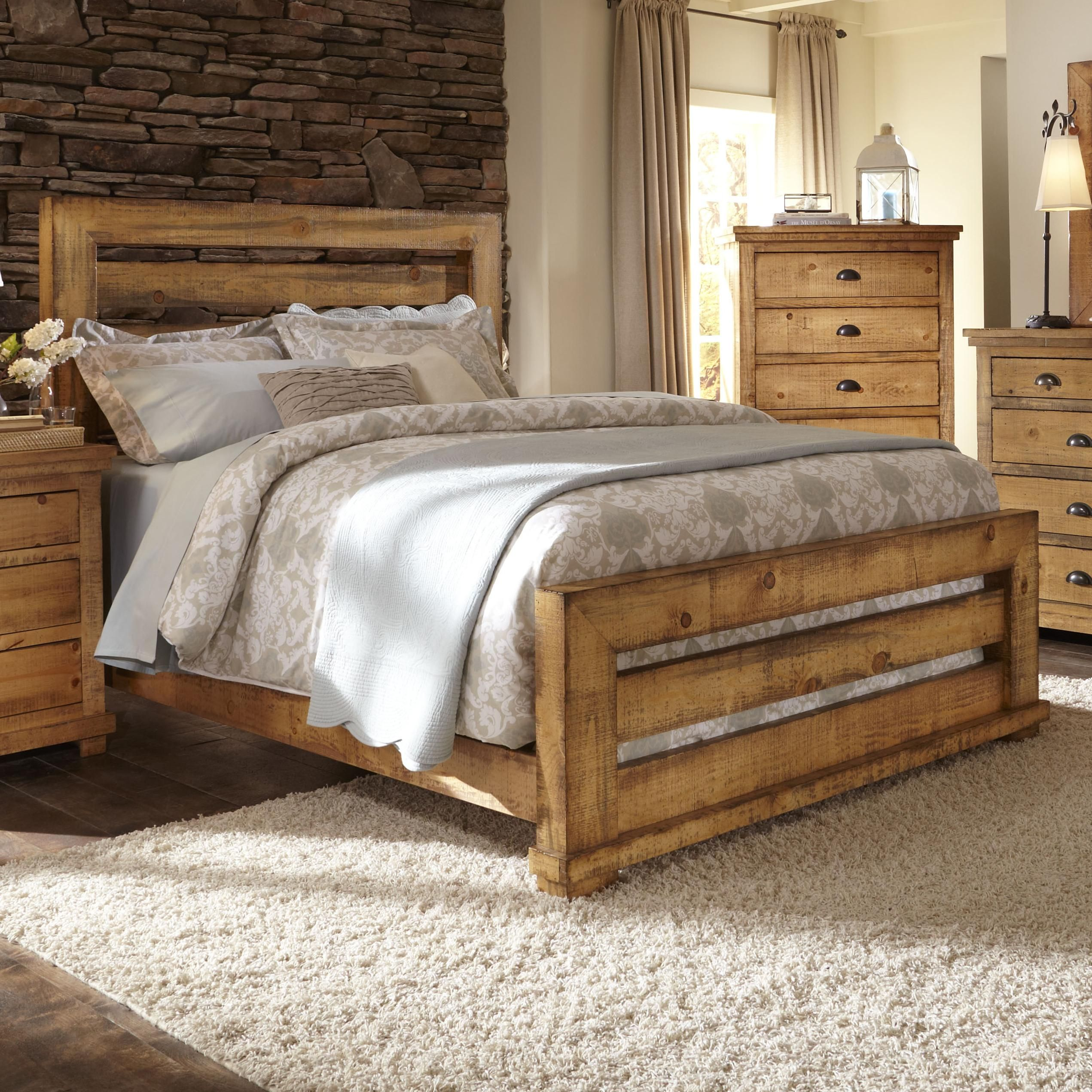 Progressive Furniture Willow King Slat Bed With Distressed Pine Frame Colder S Furniture And