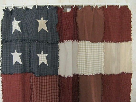 American Inspired Red White Blue Bathrooms Primitive