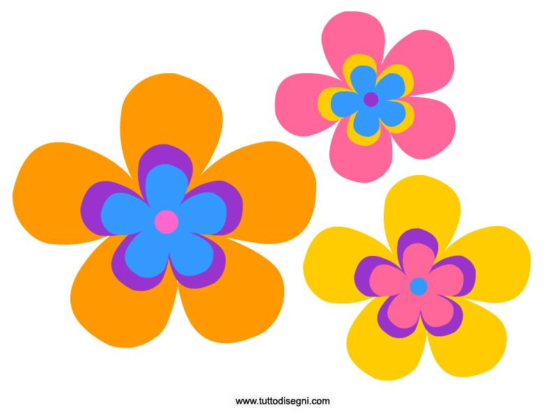 Fiori colorati da stampare e ritagliare , TuttoDisegni.com