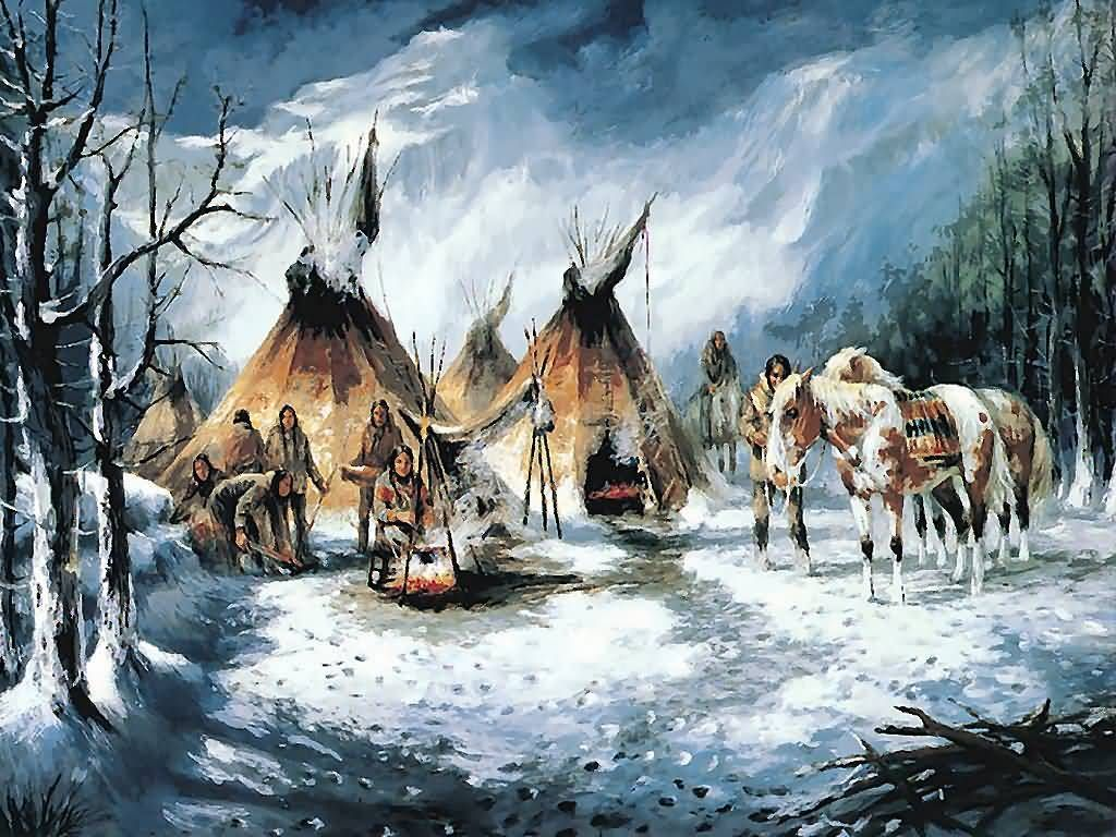 Стойбище американских индейцев фото