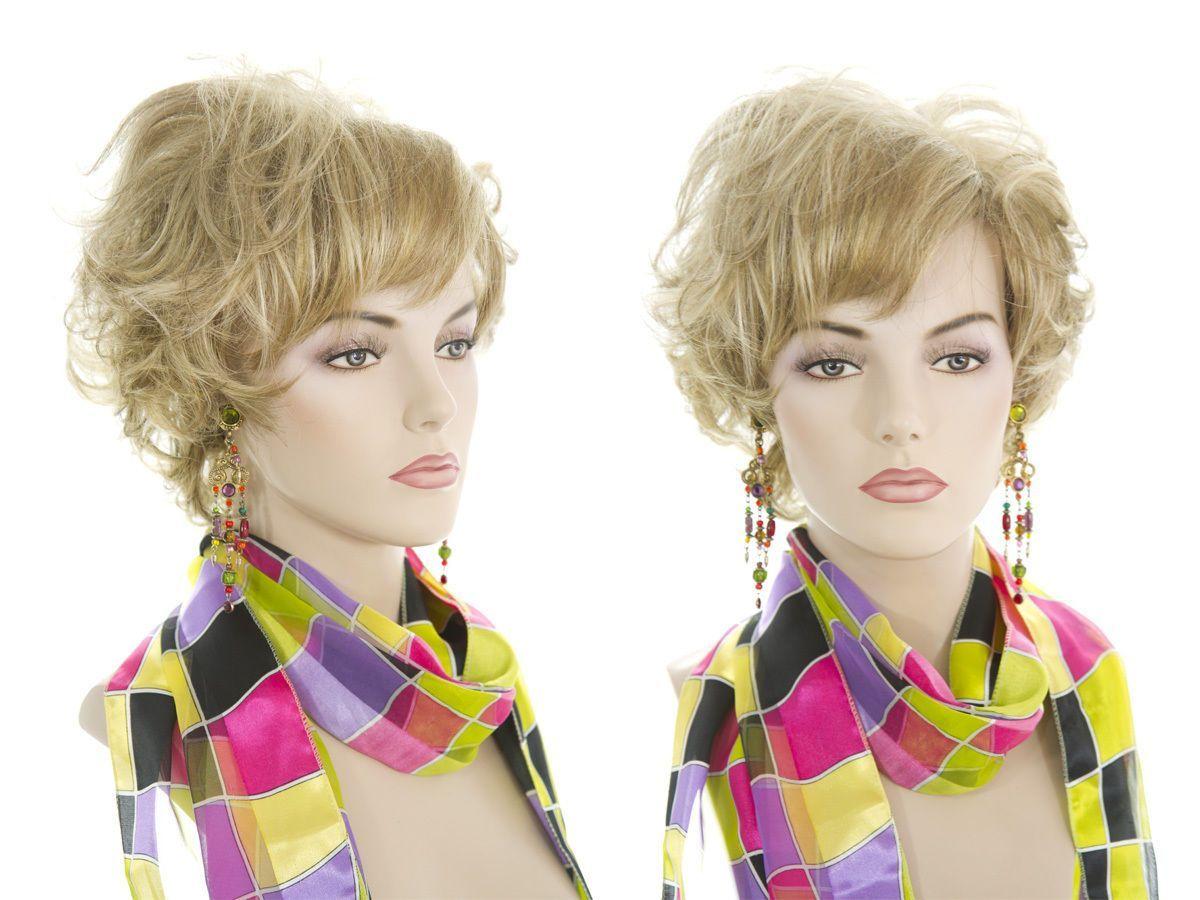 Medium length short brunette red shag style wavy wigs flipped ends