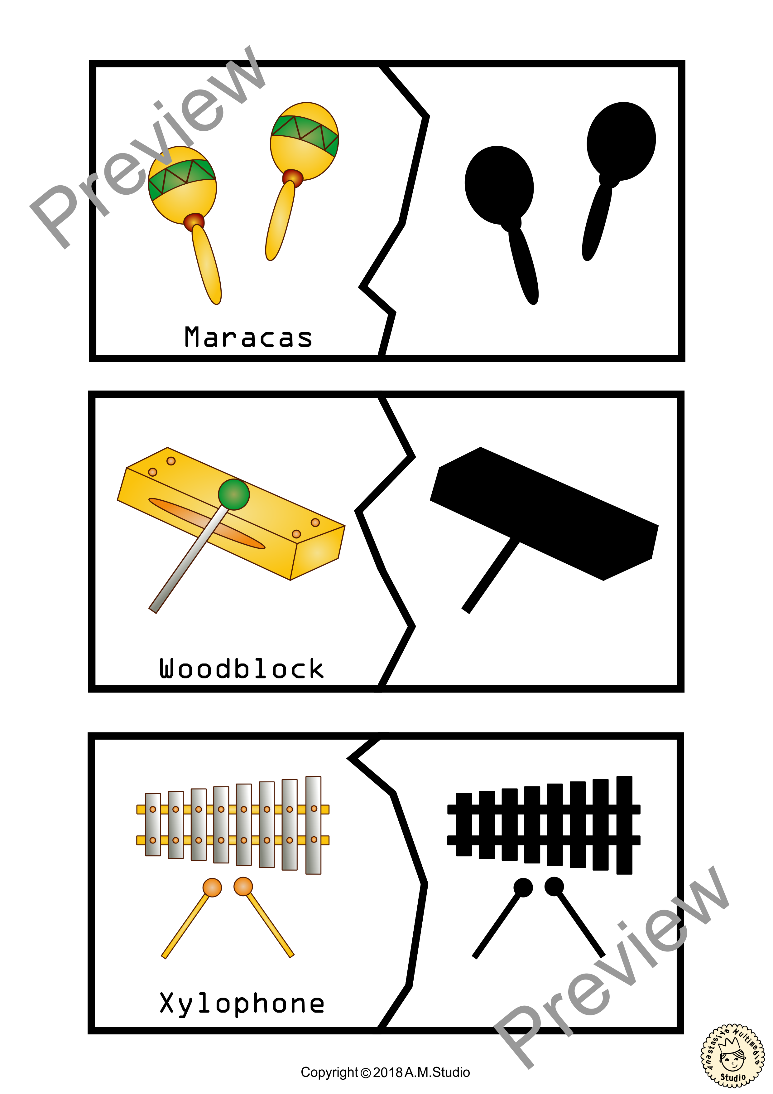 Musical Instruments Shadow Matching Puzzles