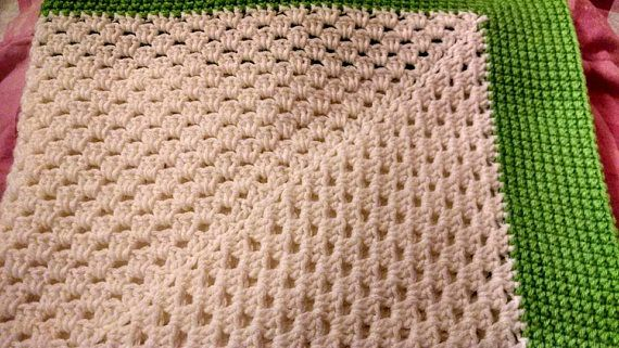 27 By 27 Inch White And Lime Green Crochet Baby Blanket Lap