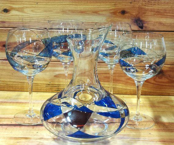 Romanian Glass Wine Decanter Set Cobalt Blue and by ArtMaxAntiques
