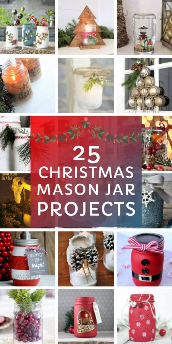 21 Festively Fun Christmas Mason Jar Crafts for the Holidays! #masonjardecorating