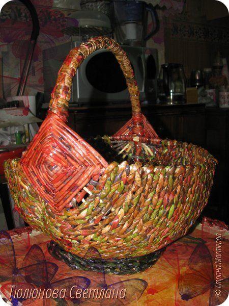 Поделка изделие Плетение Белорусское лукошко и небольшой МК Материал природный Трубочки бумажные фото 1