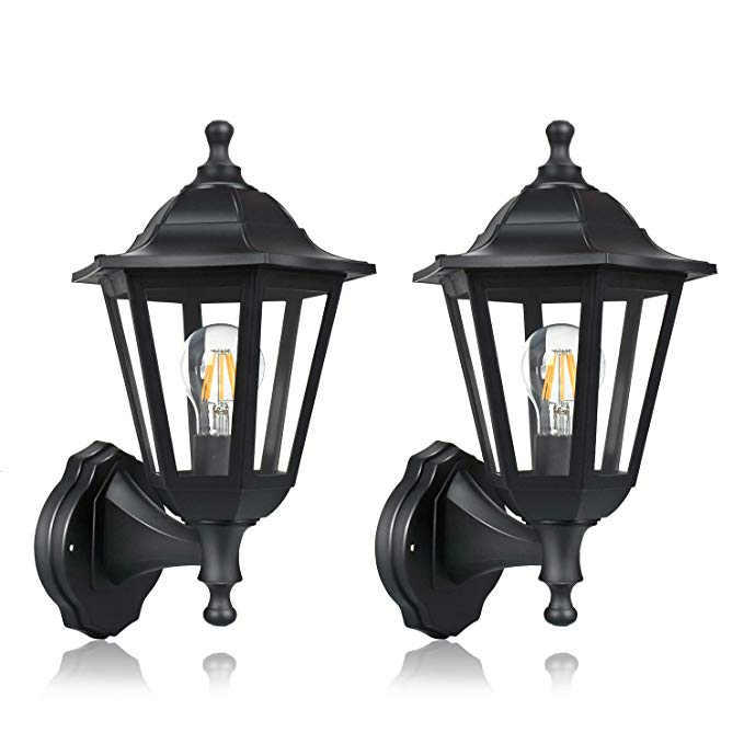 Fudesy 2 Pack Wall Lanterns Outdoor 12w Wired Electric Led Plastic Wall Lights Wall Mount Waterproof Saving Wall Lantern Exterior Light Fixtures Wall Lights