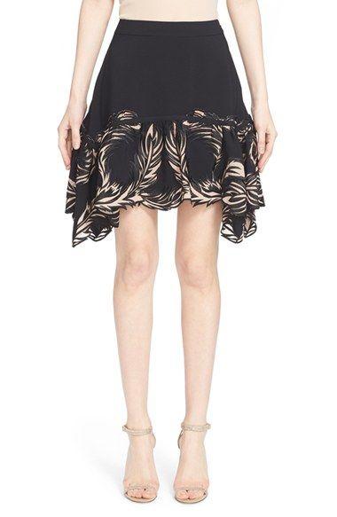 ROBERTO CAVALLI Feather Embellished Crepe Back Satin Skirt. #robertocavalli #cloth #