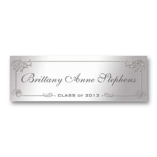Elegant Silver Graduation Name Card Insert Zazzle Com Name Cards Card Template Custom Business Cards