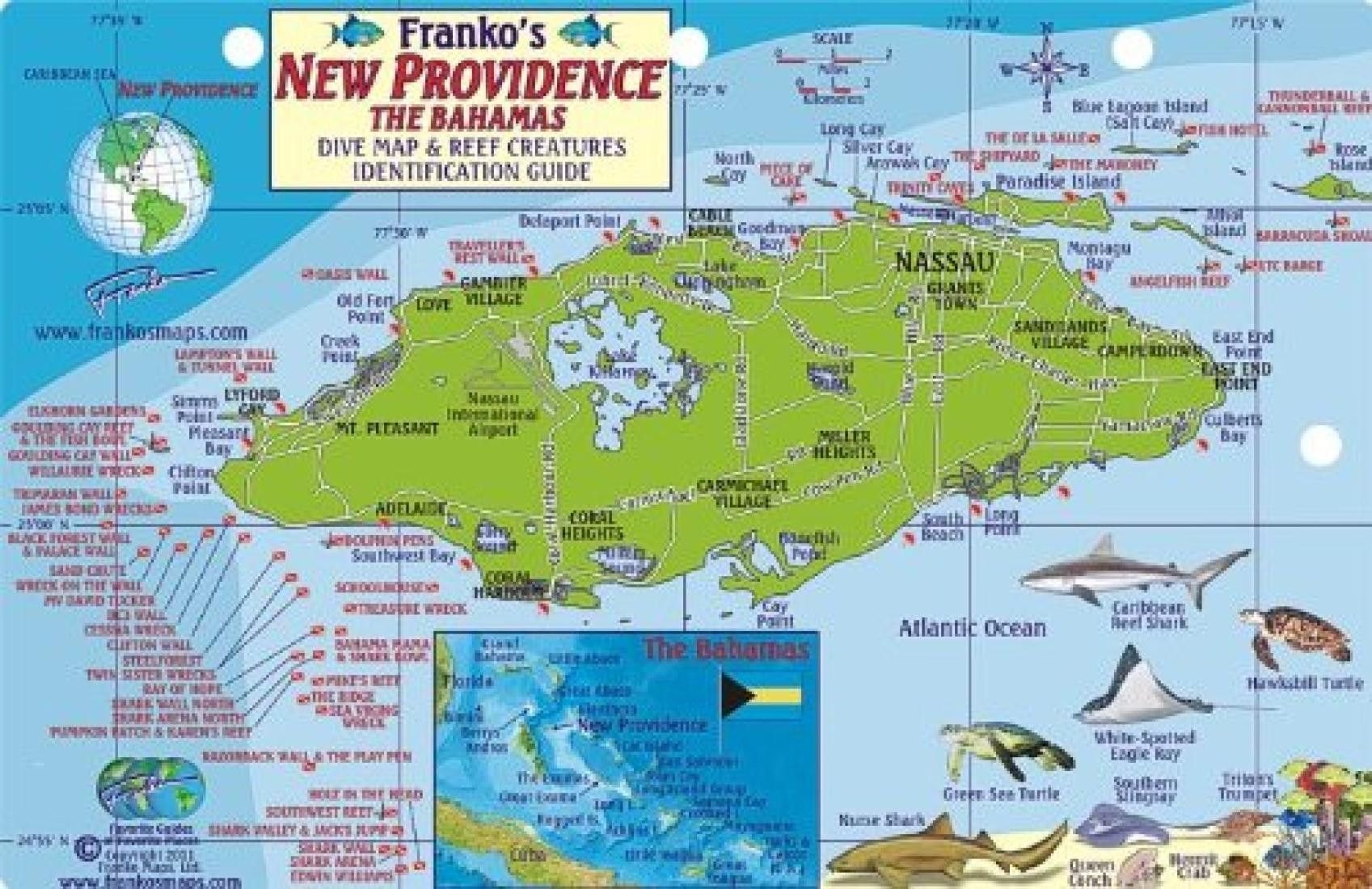 Bahamas Fish Card New Providence 2011 By Frankos Maps Ltd