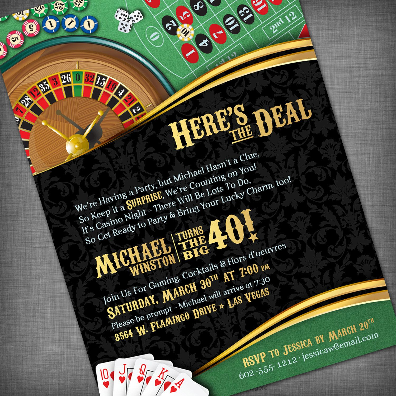 Casino Theme Invitation for Birthday Party CasinoGame Night