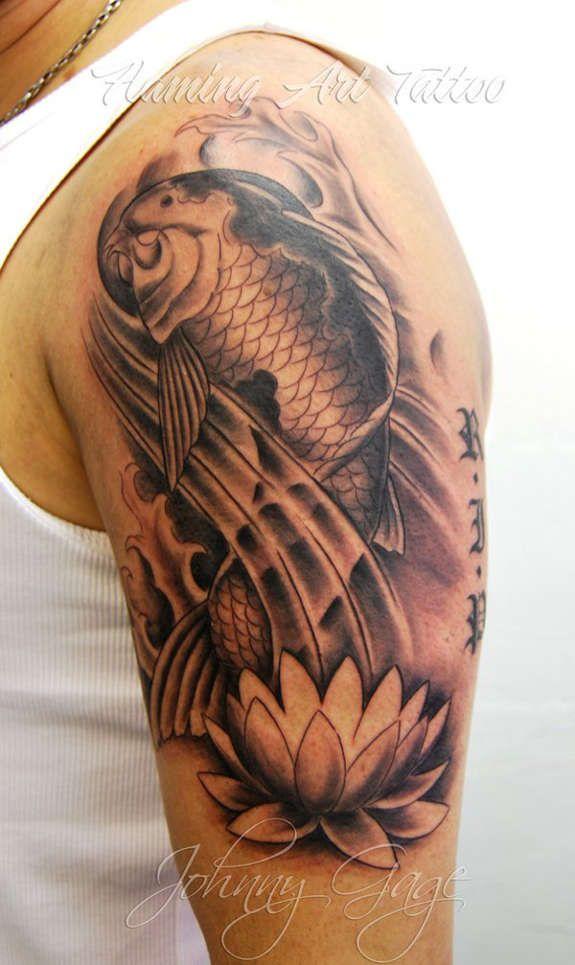 adffcce9c6057 Black Ink Japanese Koi Fish With Lotus Tattoo On Man Left Half Sleeve