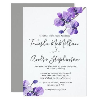 Violet Watercolor Orchids Wedding Invitation Orchid wedding