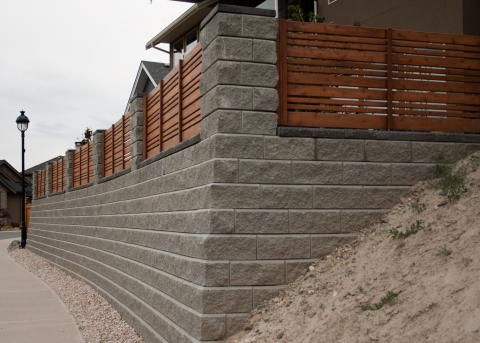 Allan Block Wall With Wooden Panel Fencing Wood Fence Concrete Blocks Retaining Wall