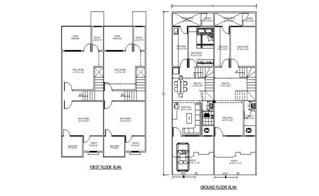2 Storey Residential House With Detail Dimension In Dwg File Residential House Open House Plans House Plans