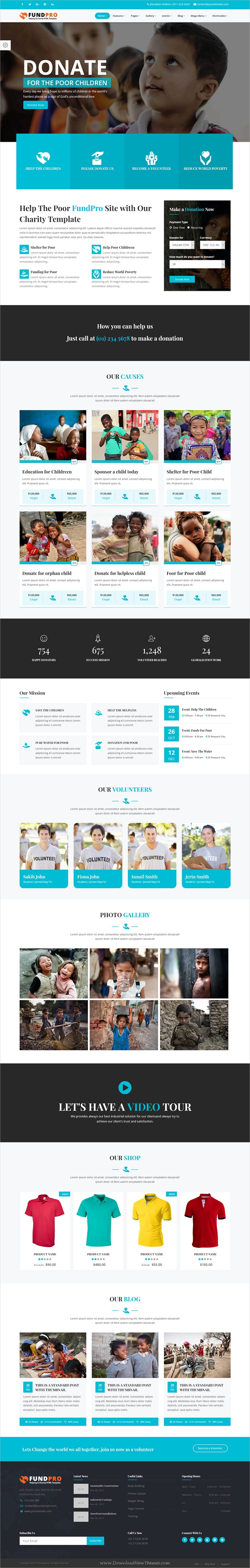 Fundpro Charity Nonprofit Website Design Layout Html5 Templates Homepage Layout