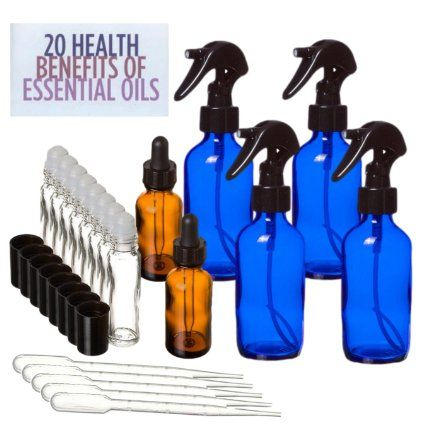 20 Piece Loving Essential Oils Kit - Set of Glass Bottles for Aromatherapy, Roll Ons, Dropper, Sprayer, Pipettes.