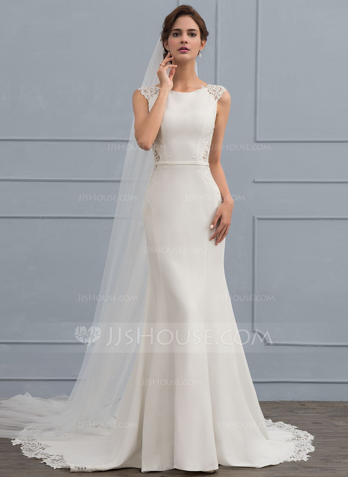 b8487d25f3b6 Trumpet/Mermaid Scoop Neck Court Train Satin Wedding Dress (002118439) - Wedding  Dresses - JJsHouse