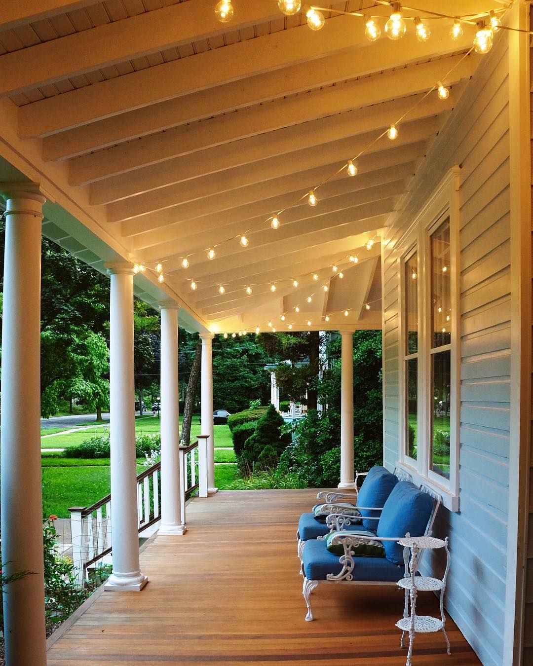 Restored Victorian Wrap Porch. String Cafe Lights
