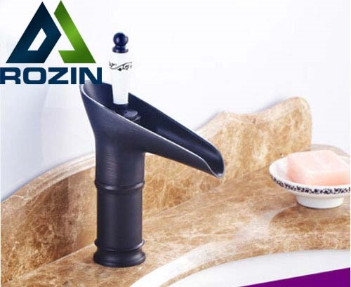 64.05$  Watch now - http://alihyi.worldwells.pw/go.php?t=32343079402 - Wine Cup Shape Deck Mount Single Handle Brass Waterfall Spout Basin Faucet Tap Oil-rubbed Bronze Bathroom Mixer Tap 64.05$