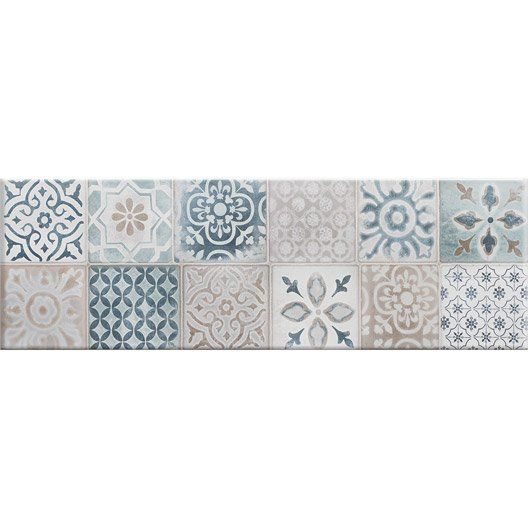Fa ence mur blanc et bleu decor haussmann carreau ciment for Carreaux de ciment faience cuisine