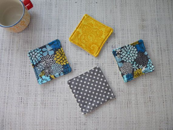 Coasters set of 4 fabric coasters Modern floral by LiveLaughSew, $5.00