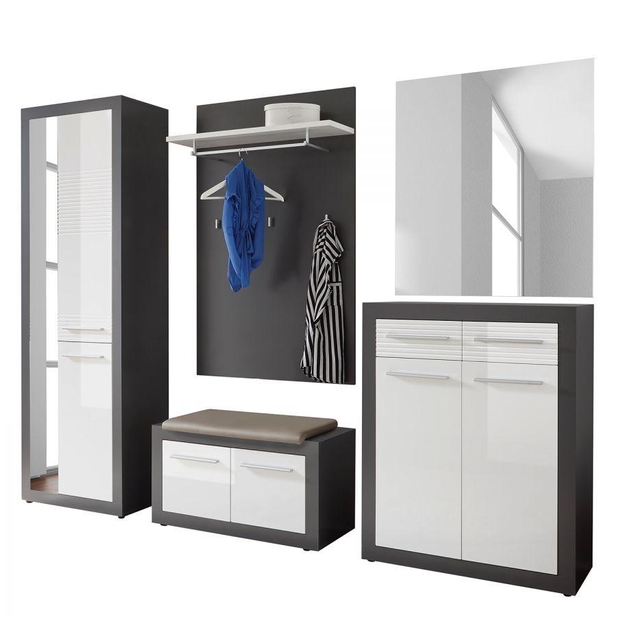 Modernes Garderobenpaneel mit Spiegel weiß anthrazit Wandgarderobe Flurgarderobe