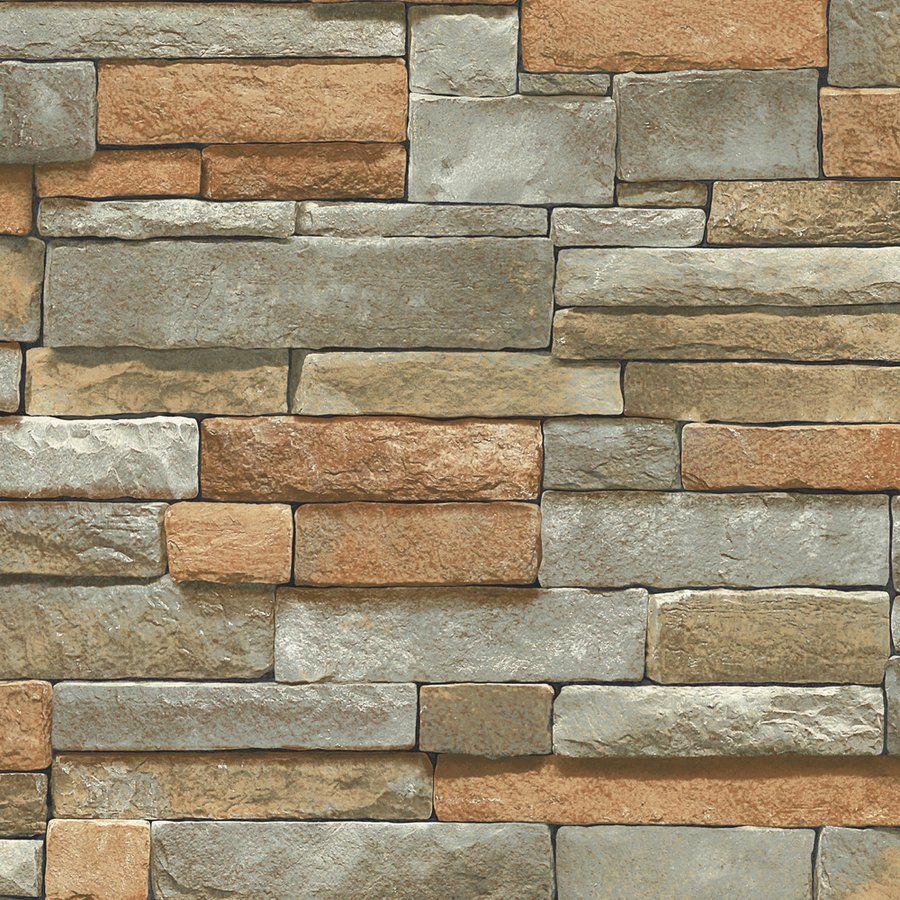 Blue mountain ledge stone brown peelable vinyl prepasted for Prepasted wallpaper