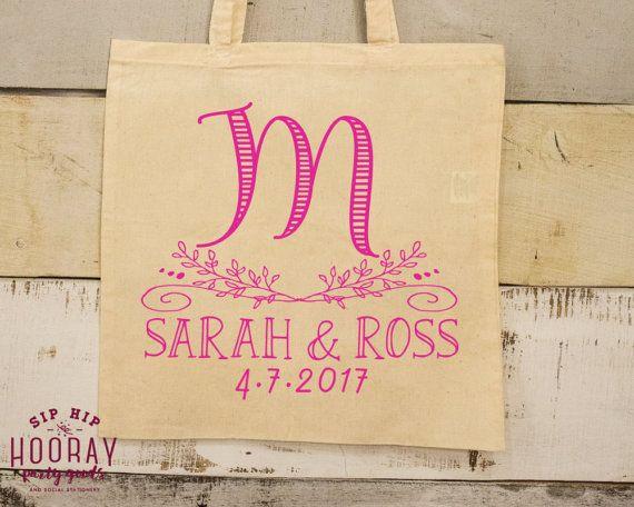 wedding monogram favor tote favor bags welcome bag canvas bag tote
