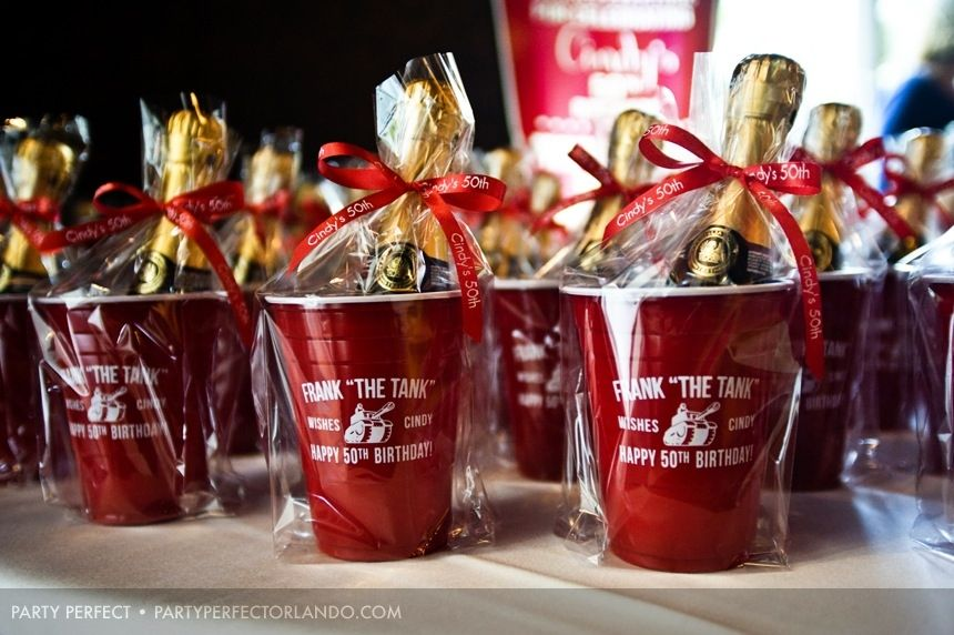 Cool champagne 50th birthday party favors with custom