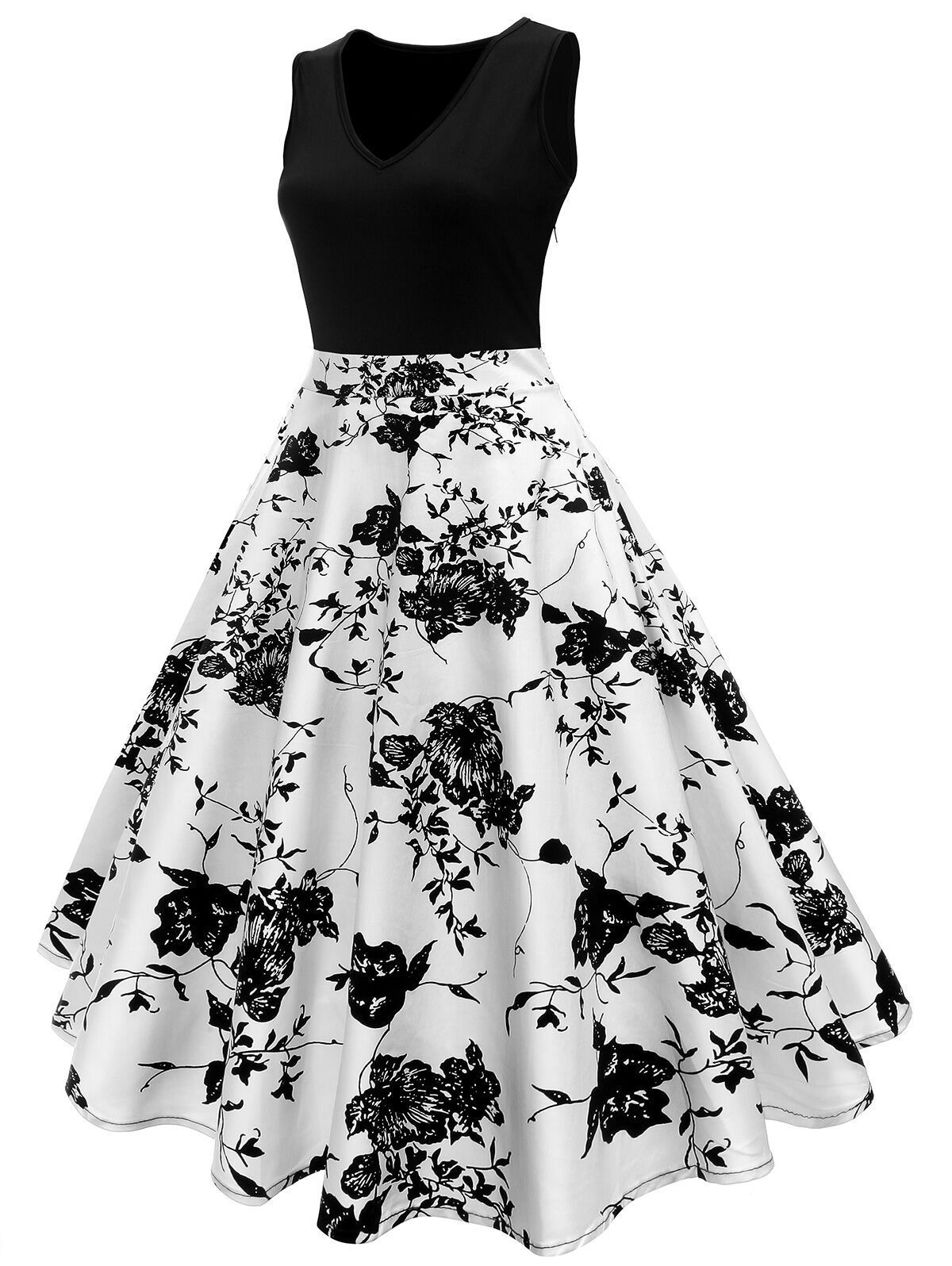 f1775c5b8f14 Plus Size 1950s Floral Polka Dot Dress – Retro Stage - Chic Vintage Dresses  and Accessories
