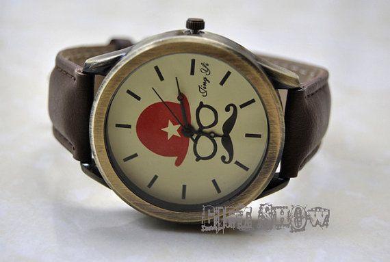 Brown Leather Bracelet  Mustache Watch Bronze Watch by GiftShow, $11.99 Brown Leather Bracelet , Mustache Watch, Bronze Watch, Vintage Style Leather Watch, Women Watches, Unisex Watch, Boyfriend Watch