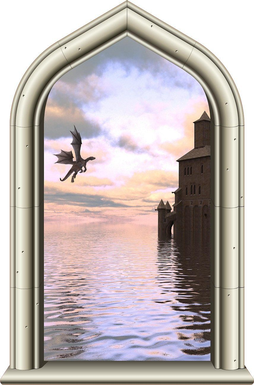 Window decor stickers  u castle window medieval knight view castle and dragon sunset