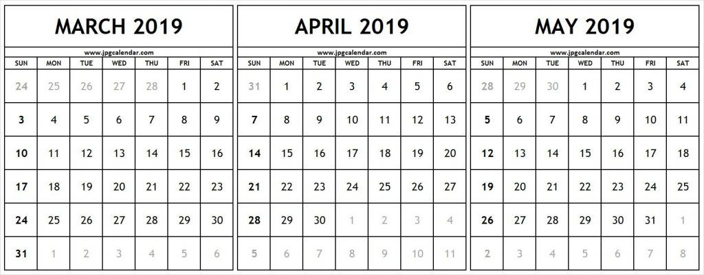 March April May 2019 Calendar PDF Monthly Calendar Template free